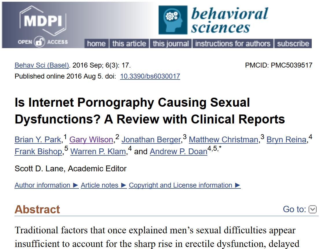 Behavior sciences pornography