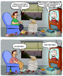 Cartoon showing a viewers decline into sloth and fat while consuming porn
