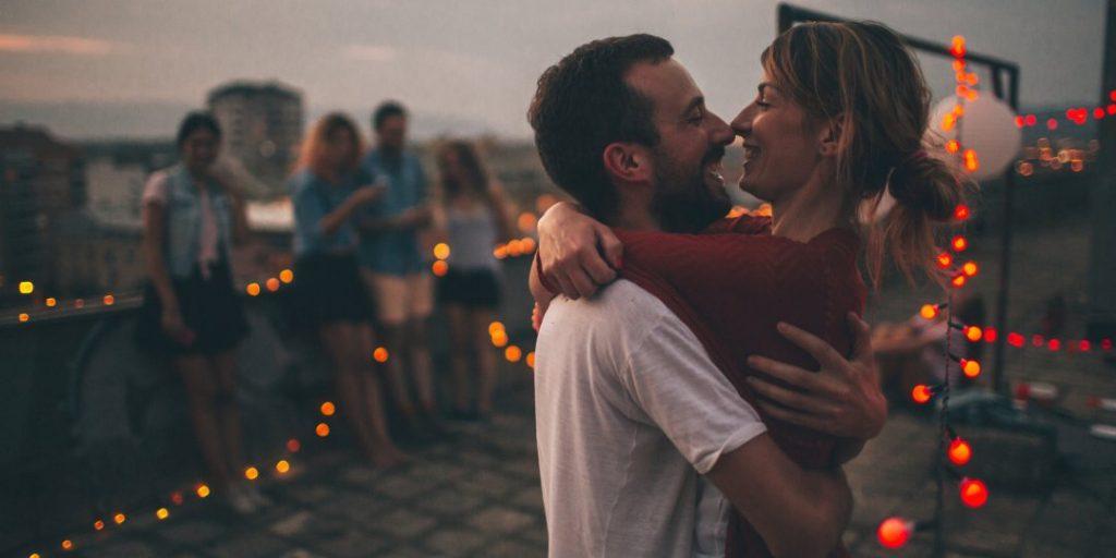 woman and man hugging