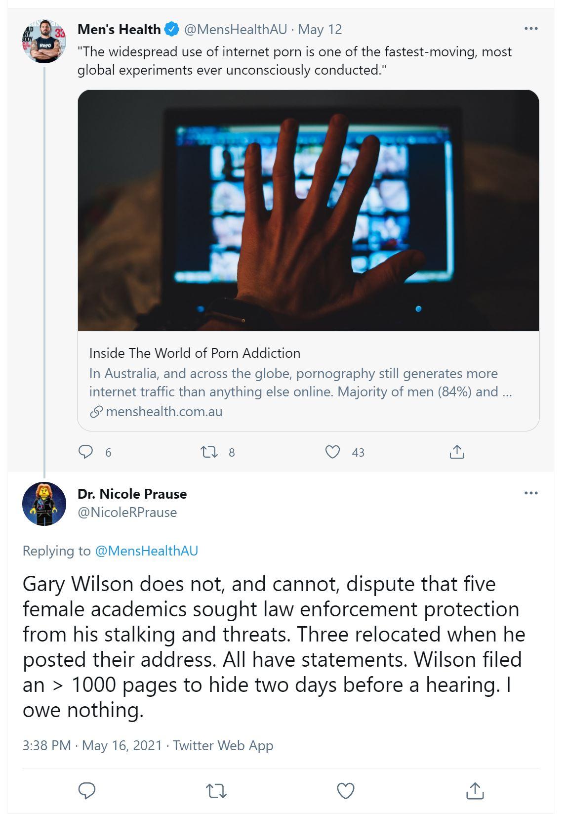 Nicole Prause lying about gary wilson