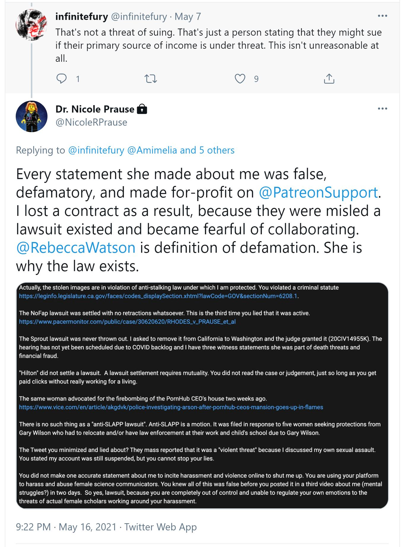 Nicole R Prause and Liberos LLC cyberstalking